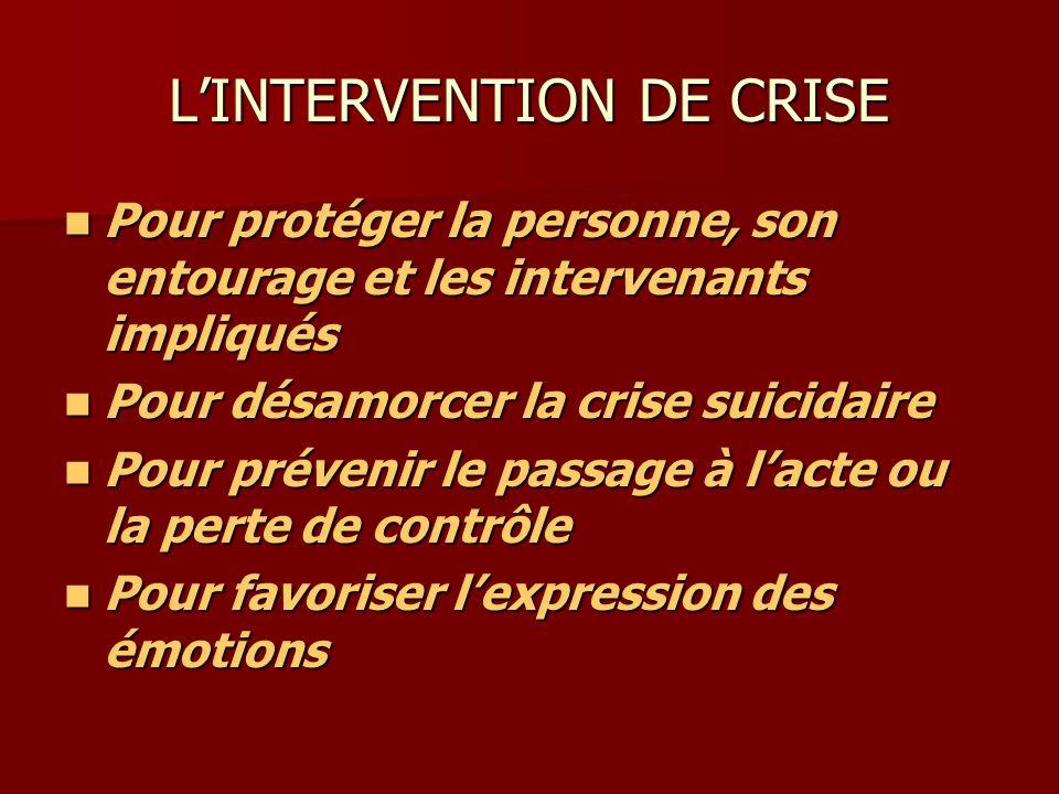 LINTERVENTION DE CRISE Pour protéger la personne, son entourage et les intervenants impliqués Pour protéger la personne, son entourage et les interven