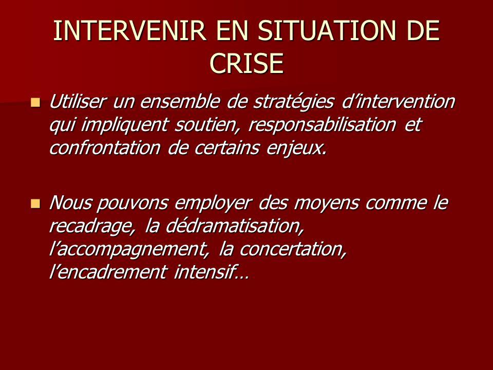 INTERVENIR EN SITUATION DE CRISE Utiliser un ensemble de stratégies dintervention qui impliquent soutien, responsabilisation et confrontation de certa