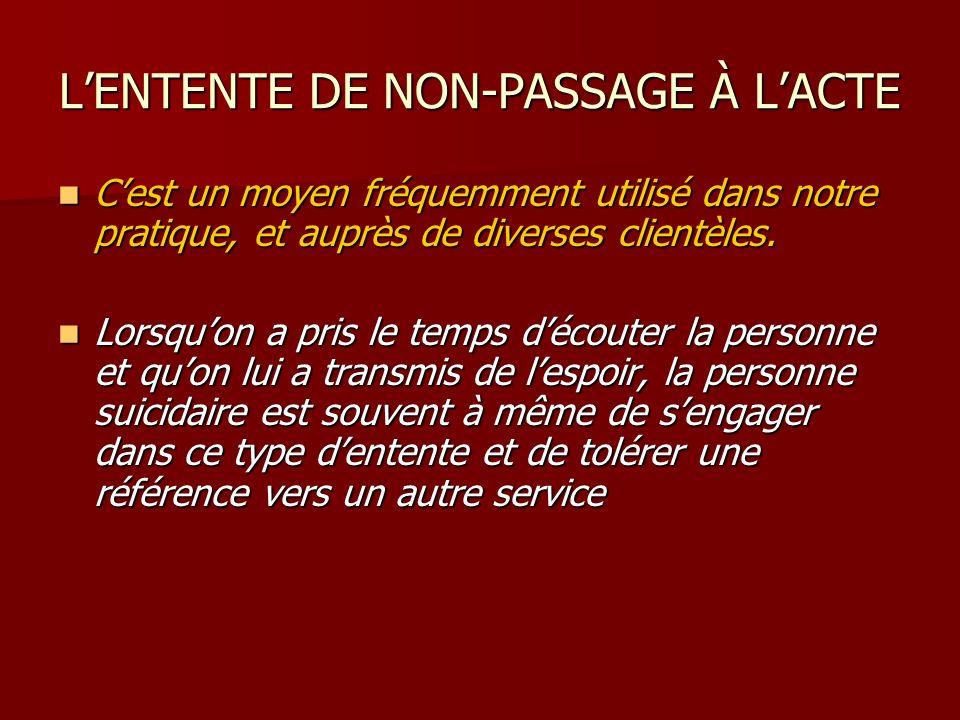 LENTENTE DE NON-PASSAGE À LACTE Cest un moyen fréquemment utilisé dans notre pratique, et auprès de diverses clientèles. Cest un moyen fréquemment uti