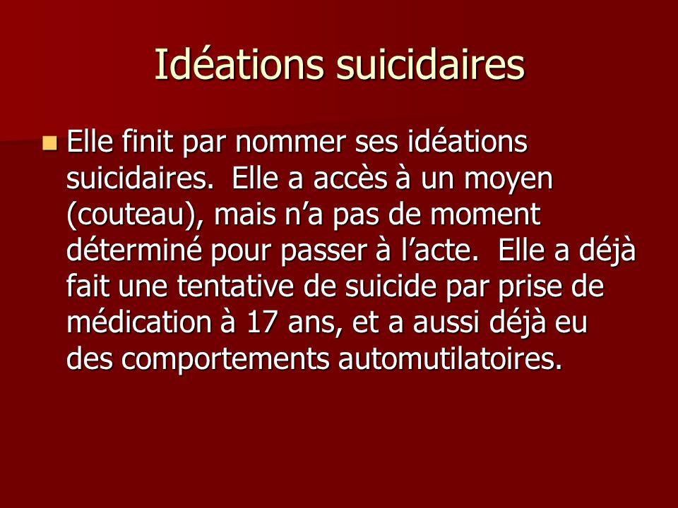 Idéations suicidaires Elle finit par nommer ses idéations suicidaires. Elle a accès à un moyen (couteau), mais na pas de moment déterminé pour passer