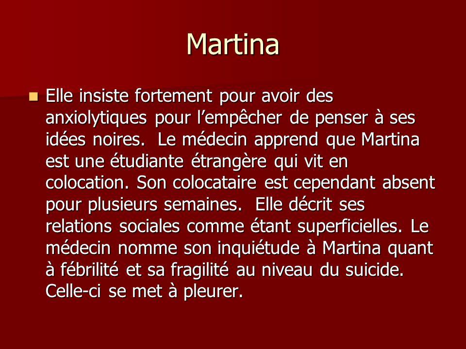 Martina Elle insiste fortement pour avoir des anxiolytiques pour lempêcher de penser à ses idées noires. Le médecin apprend que Martina est une étudia