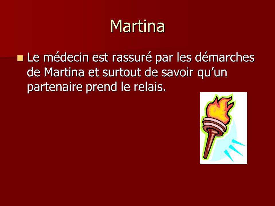 Martina Le médecin est rassuré par les démarches de Martina et surtout de savoir quun partenaire prend le relais. Le médecin est rassuré par les démar