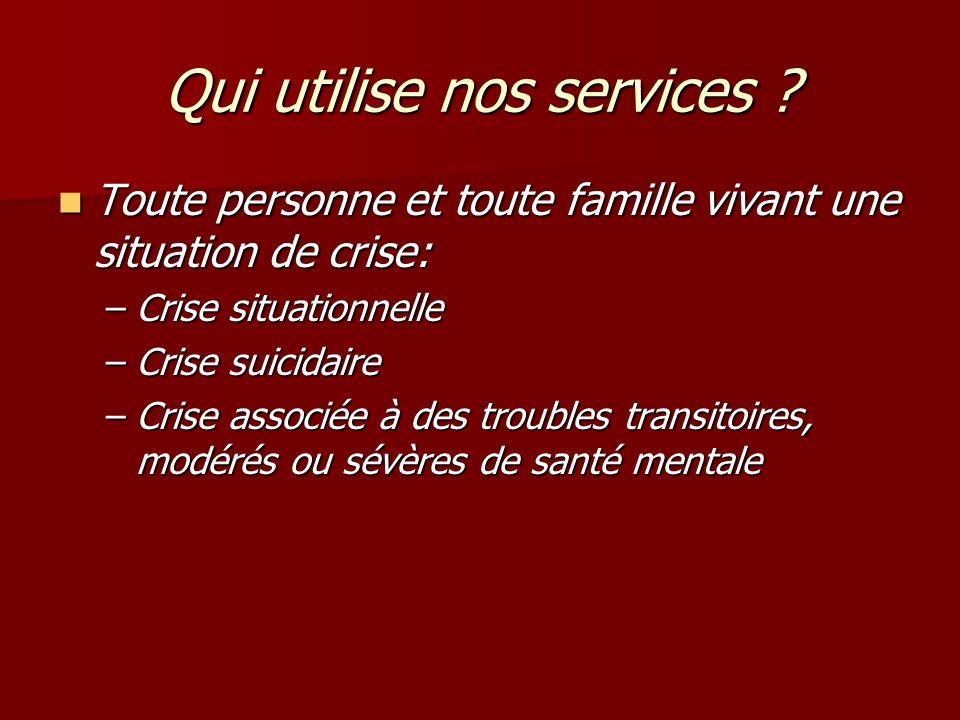 Qui utilise nos services ? Toute personne et toute famille vivant une situation de crise: Toute personne et toute famille vivant une situation de cris