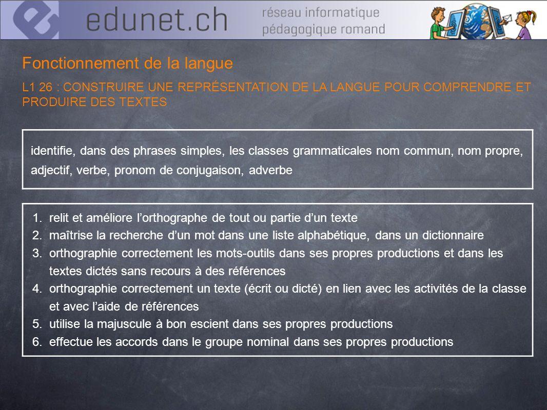 Fonctionnement de la langue L1 26 : CONSTRUIRE UNE REPRÉSENTATION DE LA LANGUE POUR COMPRENDRE ET PRODUIRE DES TEXTES identifie, dans des phrases simp