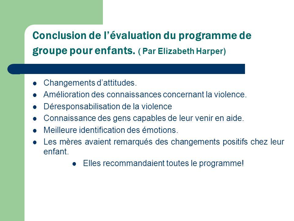 Conclusion de lévaluation du programme de groupe pour enfants.