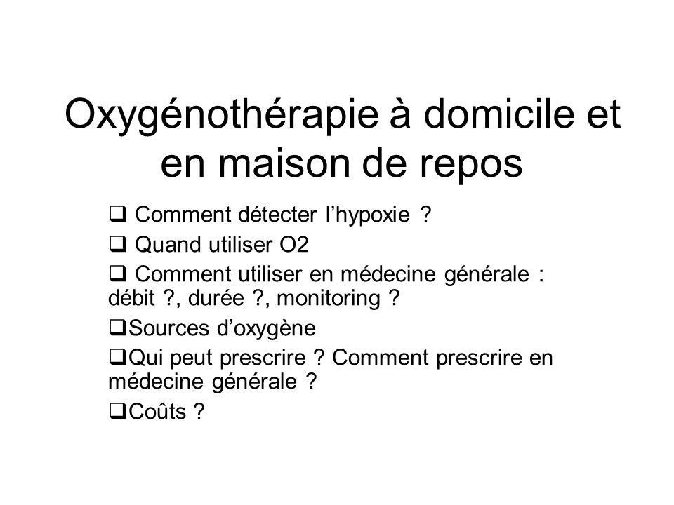 Oxygénothérapie à domicile et en maison de repos Comment détecter lhypoxie ? Quand utiliser O2 Comment utiliser en médecine générale : débit ?, durée