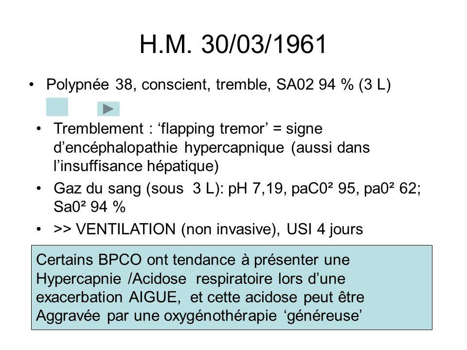 H.M. 30/03/1961 Polypnée 38, conscient, tremble, SA02 94 % (3 L) Certains BPCO ont tendance à présenter une Hypercapnie /Acidose respiratoire lors dun