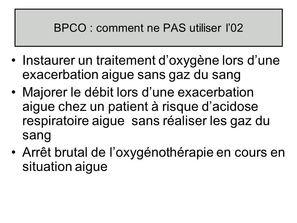 BPCO : comment ne PAS utiliser l02 Instaurer un traitement doxygène lors dune exacerbation aigue sans gaz du sang Majorer le débit lors dune exacerbat