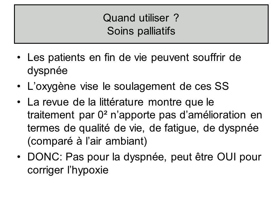 Les patients en fin de vie peuvent souffrir de dyspnée Loxygène vise le soulagement de ces SS La revue de la littérature montre que le traitement par