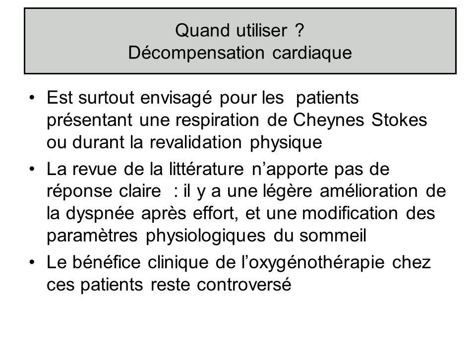 Est surtout envisagé pour les patients présentant une respiration de Cheynes Stokes ou durant la revalidation physique La revue de la littérature napp