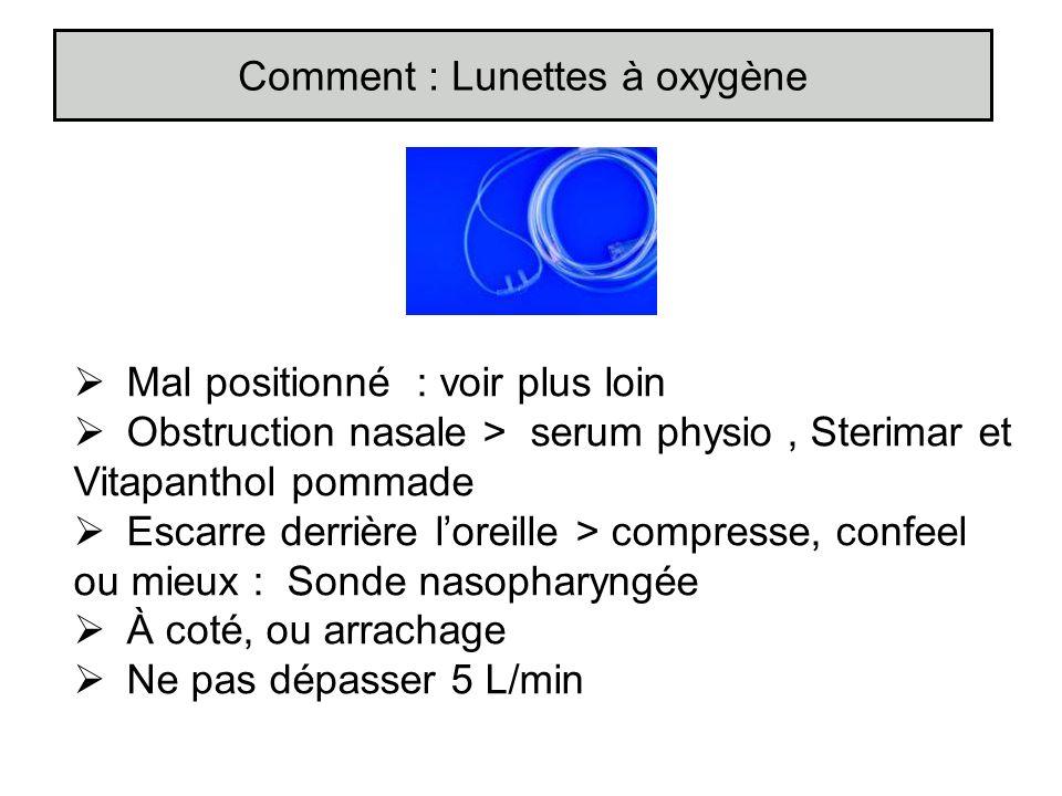 Mal positionné : voir plus loin Obstruction nasale > serum physio, Sterimar et Vitapanthol pommade Escarre derrière loreille > compresse, confeel ou m