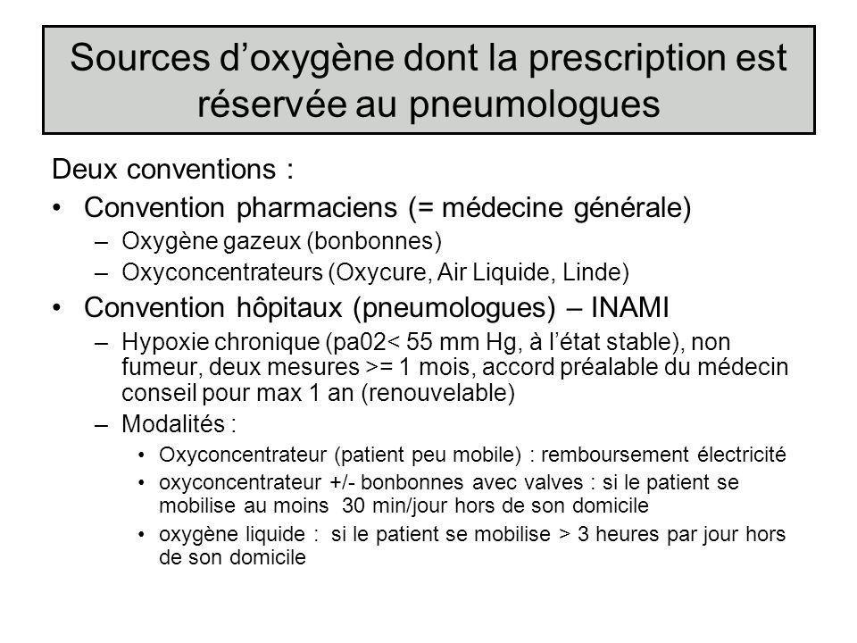 Sources doxygène dont la prescription est réservée au pneumologues Deux conventions : Convention pharmaciens (= médecine générale) –Oxygène gazeux (bo