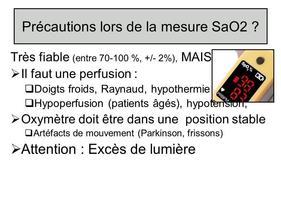 Précautions lors de la mesure SaO2 ? Très fiable (entre 70-100 %, +/- 2%), MAIS Il faut une perfusion : Doigts froids, Raynaud, hypothermie Hypoperfus