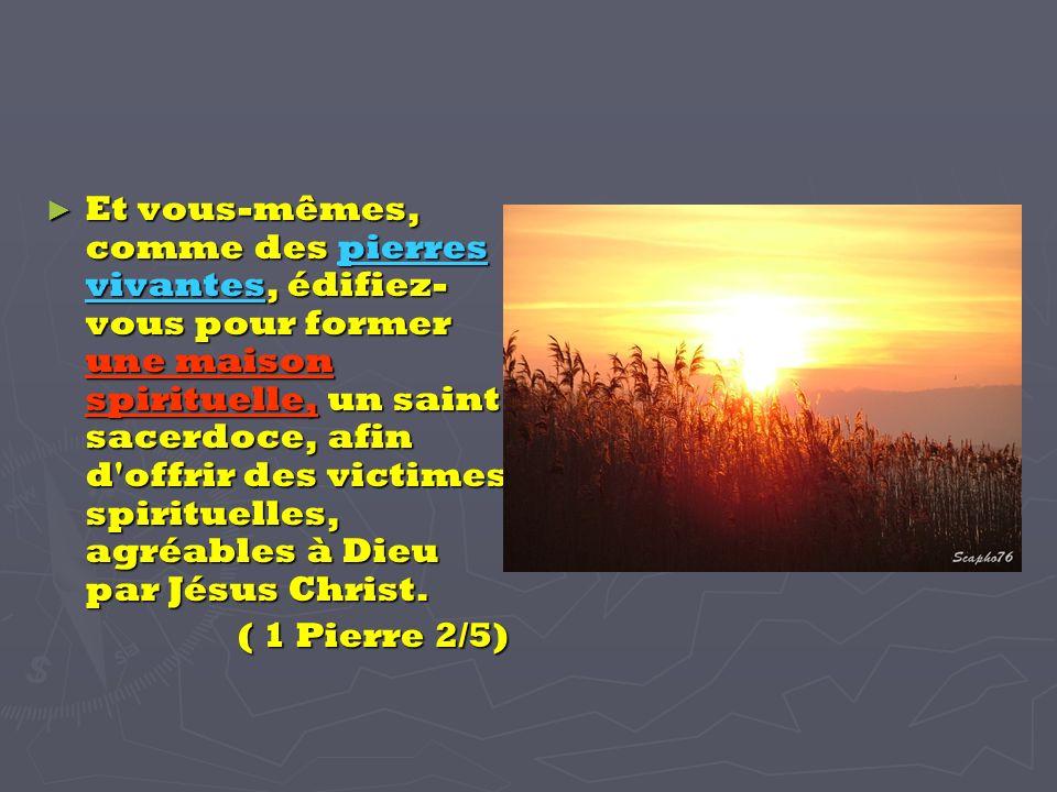 Et vous-mêmes, comme des pierres vivantes, édifiez- vous pour former une maison spirituelle, un saint sacerdoce, afin d offrir des victimes spirituelles, agréables à Dieu par Jésus Christ.