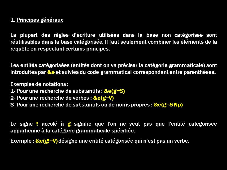1. Principes généraux Les entités catégorisées (entités dont on va préciser la catégorie grammaticale) sont introduites par &e et suivies du code gram