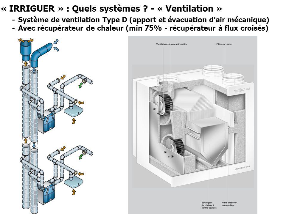 « IRRIGUER » : Quels systèmes ? - « Ventilation » - Système de ventilation Type D (apport et évacuation dair mécanique) - Avec récupérateur de chaleur
