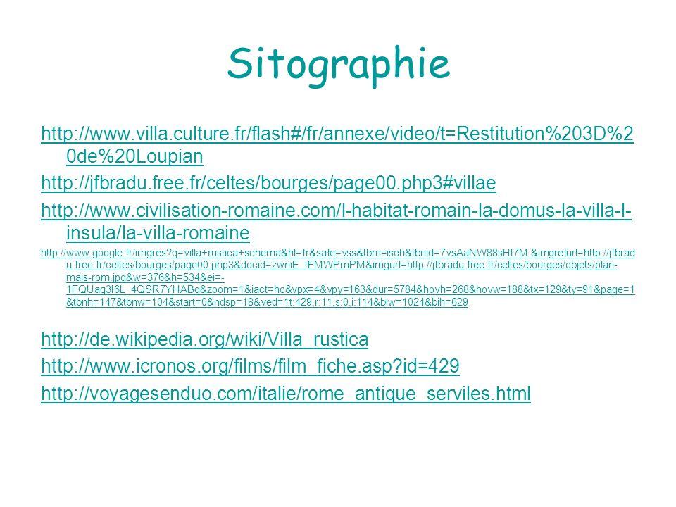 Sitographie http://www.villa.culture.fr/flash#/fr/annexe/video/t=Restitution%203D%2 0de%20Loupian http://jfbradu.free.fr/celtes/bourges/page00.php3#vi