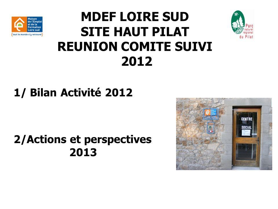 1/ BILAN ACTIVITE Maison pour lEmploi et la Formation Loire Sud Site Haut Pilat (du 01/01/2012 au 31/12/2012) A : Pôle info/orientation B : Pôle partenaires C : Pôle entreprises D : Pôle évènements