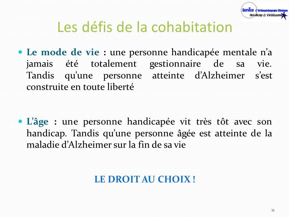 Les défis de la cohabitation Le mode de vie : une personne handicapée mentale na jamais été totalement gestionnaire de sa vie. Tandis quune personne a