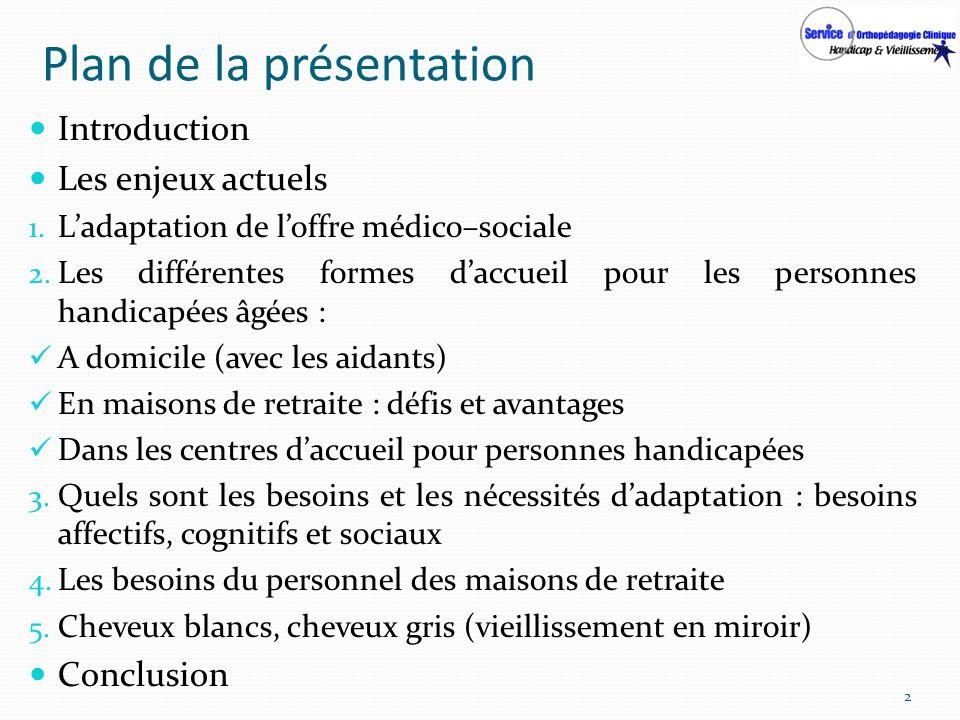 Plan de la présentation Introduction Les enjeux actuels 1. Ladaptation de loffre médico–sociale 2. Les différentes formes daccueil pour les personnes