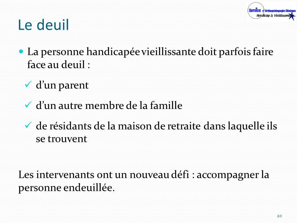 Le deuil La personne handicapée vieillissante doit parfois faire face au deuil : dun parent dun autre membre de la famille de résidants de la maison d