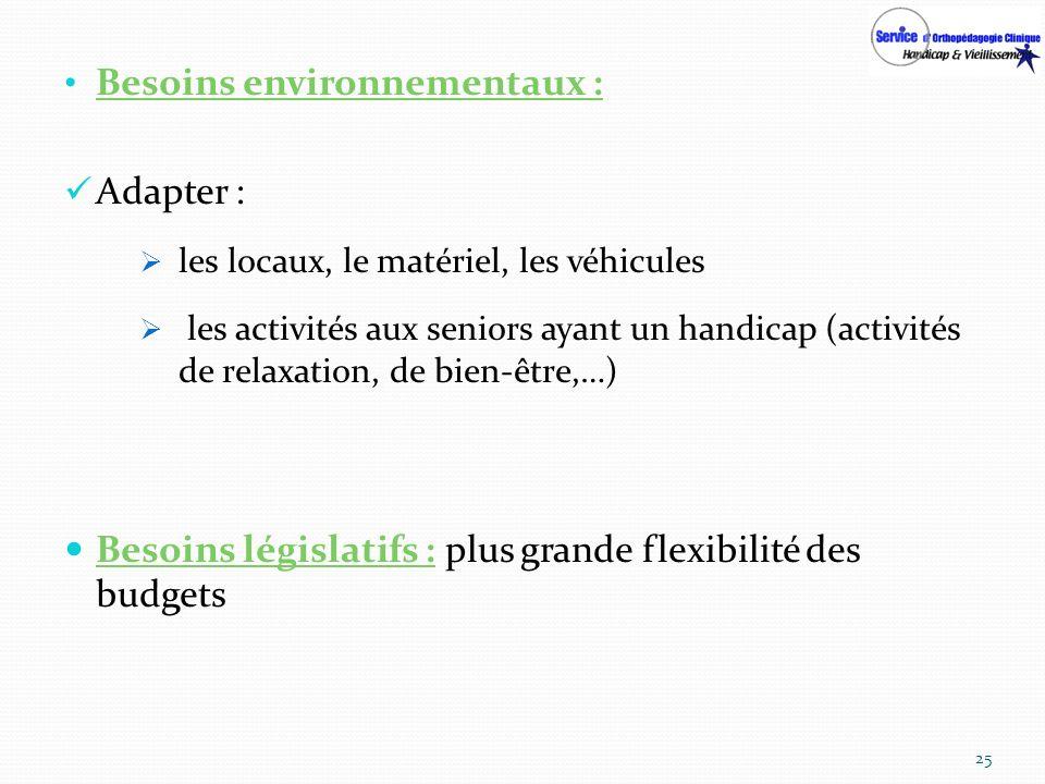 Besoins environnementaux : Adapter : les locaux, le matériel, les véhicules les activités aux seniors ayant un handicap (activités de relaxation, de b