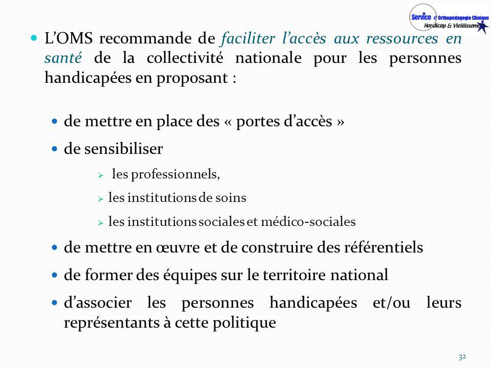 LOMS recommande de faciliter laccès aux ressources en santé de la collectivité nationale pour les personnes handicapées en proposant : de mettre en pl