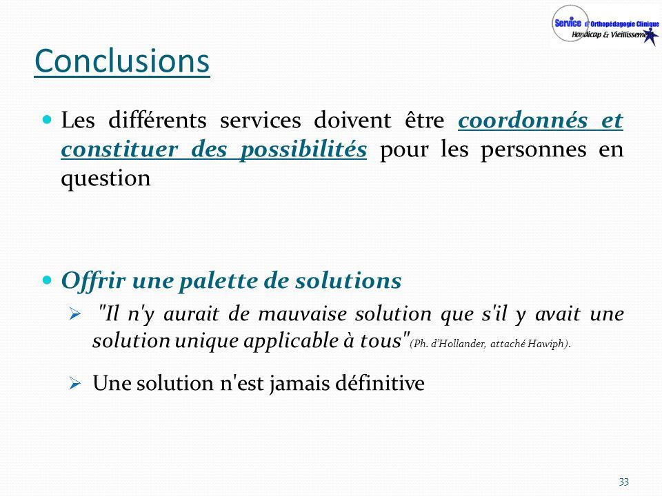 Conclusions Les différents services doivent être coordonnés et constituer des possibilités pour les personnes en question Offrir une palette de soluti