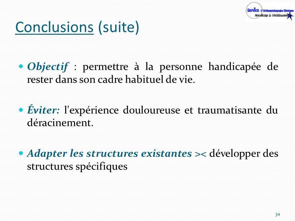 Conclusions (suite) Objectif : permettre à la personne handicapée de rester dans son cadre habituel de vie. Éviter: l'expérience douloureuse et trauma