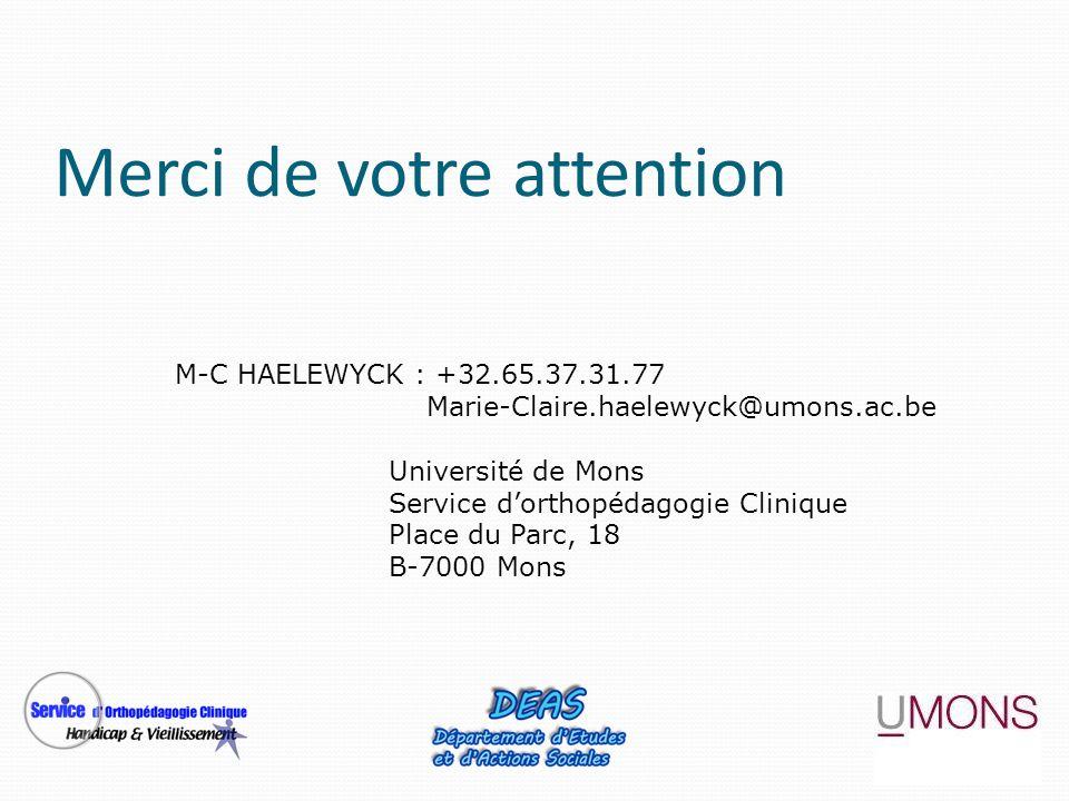 M-C HAELEWYCK : +32.65.37.31.77 Marie-Claire.haelewyck@umons.ac.be Université de Mons Service dorthopédagogie Clinique Place du Parc, 18 B-7000 Mons M