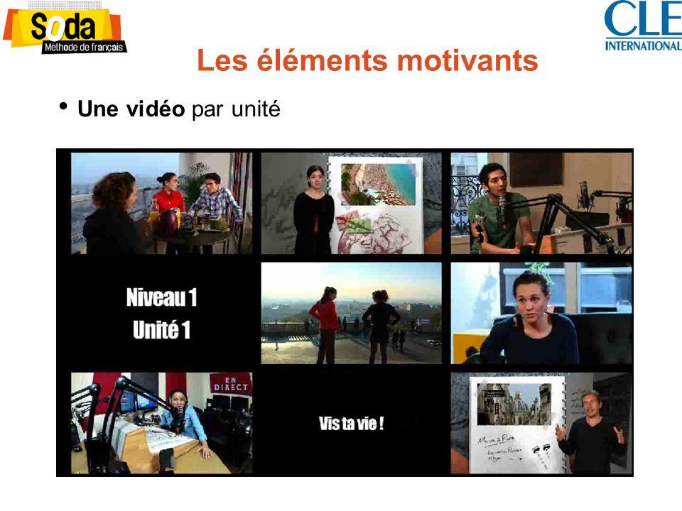 Les éléments motivants Une vidéo par unité