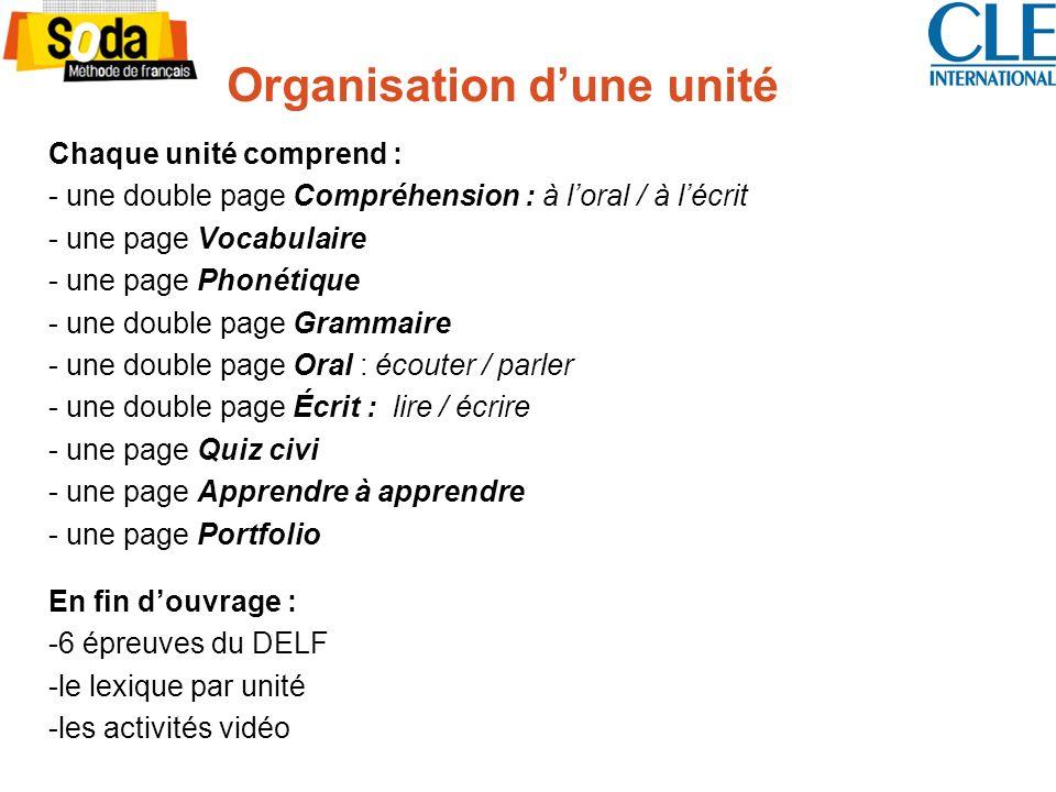 Organisation dune unité Chaque unité comprend : - une double page Compréhension : à loral / à lécrit - une page Vocabulaire - une page Phonétique - un