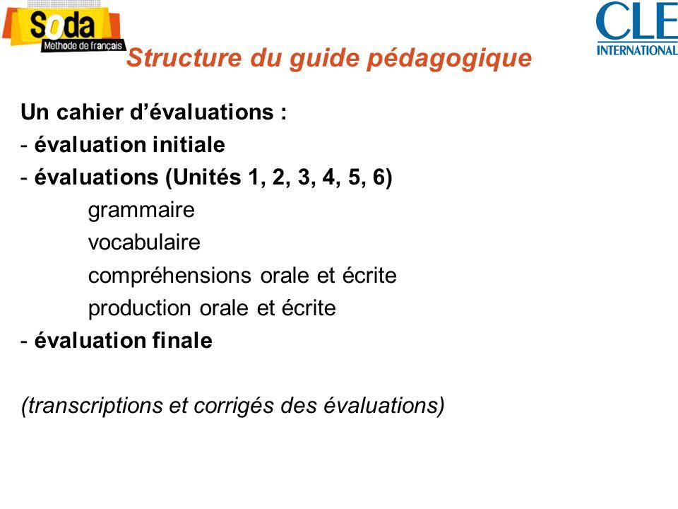 Structure du guide pédagogique Un cahier dévaluations : - évaluation initiale - évaluations (Unités 1, 2, 3, 4, 5, 6) grammaire vocabulaire compréhens