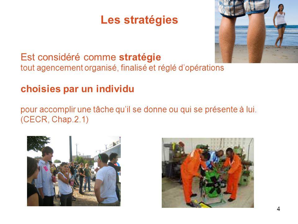 4 Est considéré comme stratégie tout agencement organisé, finalisé et réglé dopérations choisies par un individu pour accomplir une tâche quil se donn