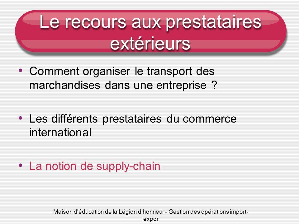 Maison d'éducation de la Légion d'honneur - Gestion des opérations import- expor Le recours aux prestataires extérieurs Comment organiser le transport