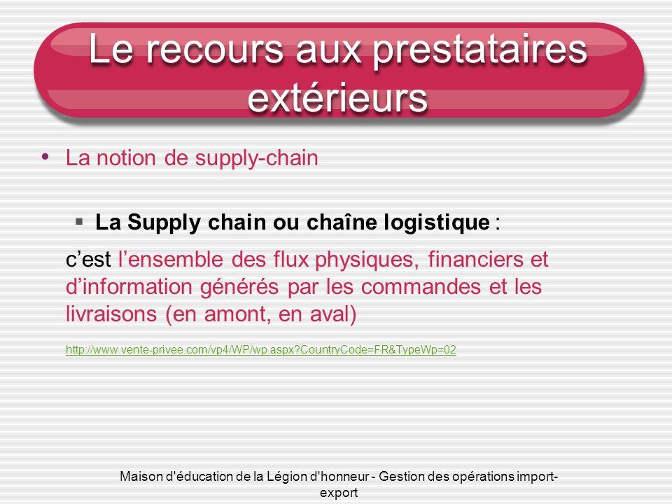 Maison d'éducation de la Légion d'honneur - Gestion des opérations import- export Le recours aux prestataires extérieurs La notion de supply-chain La