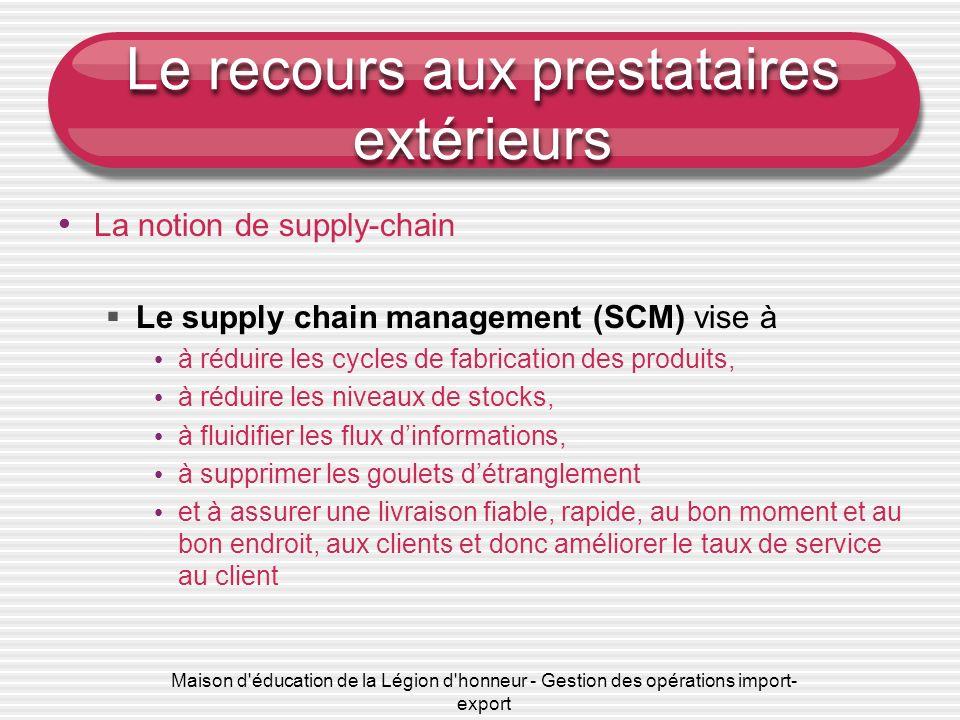 Maison d'éducation de la Légion d'honneur - Gestion des opérations import- export Le recours aux prestataires extérieurs La notion de supply-chain Le