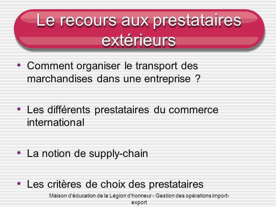 Le recours aux prestataires extérieurs Comment organiser le transport des marchandises dans une entreprise ? Les différents prestataires du commerce i
