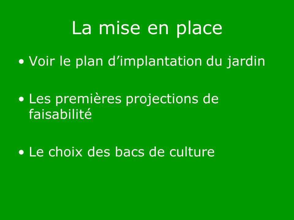 La mise en place Voir le plan dimplantation du jardin Les premières projections de faisabilité Le choix des bacs de culture