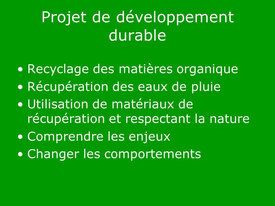 Projet de développement durable Recyclage des matières organique Récupération des eaux de pluie Utilisation de matériaux de récupération et respectant la nature Comprendre les enjeux Changer les comportements