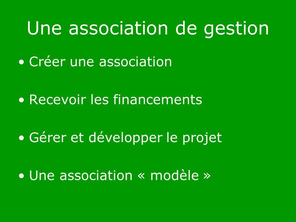 Une association de gestion Créer une association Recevoir les financements Gérer et développer le projet Une association « modèle »