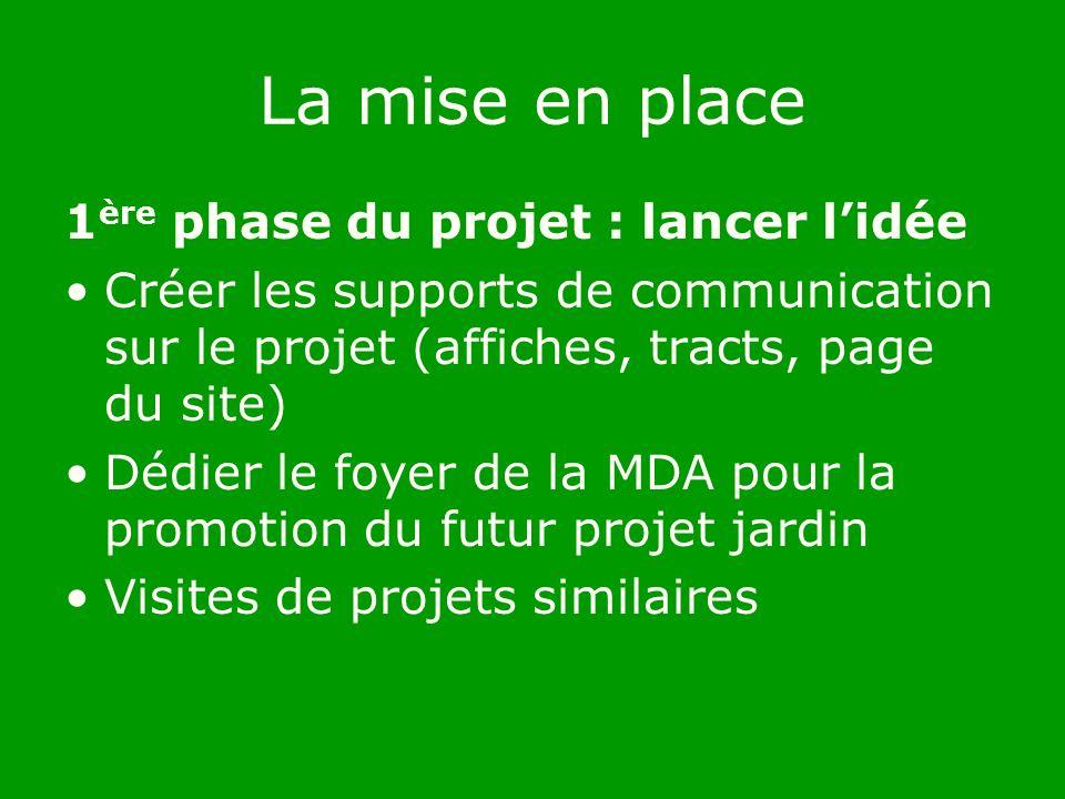 La mise en place 1 ère phase du projet : lancer lidée Créer les supports de communication sur le projet (affiches, tracts, page du site) Dédier le foyer de la MDA pour la promotion du futur projet jardin Visites de projets similaires