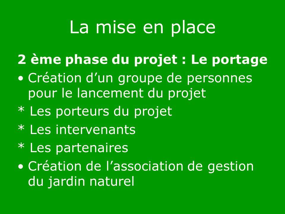 La mise en place 2 ème phase du projet : Le portage Création dun groupe de personnes pour le lancement du projet * Les porteurs du projet * Les intervenants * Les partenaires Création de lassociation de gestion du jardin naturel