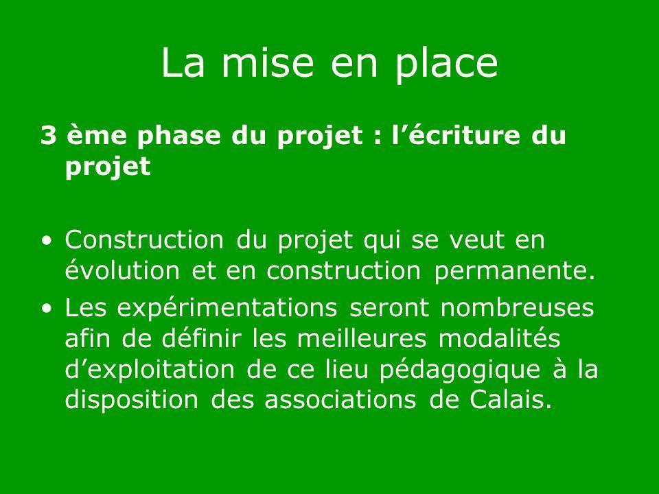 La mise en place 3 ème phase du projet : lécriture du projet Construction du projet qui se veut en évolution et en construction permanente.