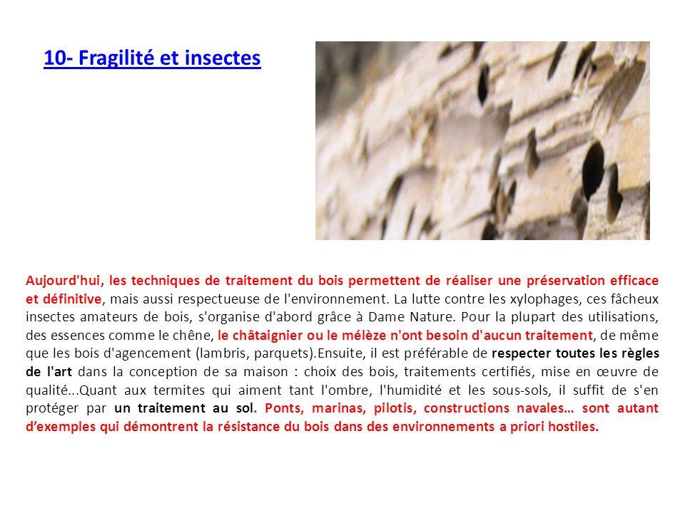10- Fragilité et insectes Aujourd'hui, les techniques de traitement du bois permettent de réaliser une préservation efficace et définitive, mais aussi