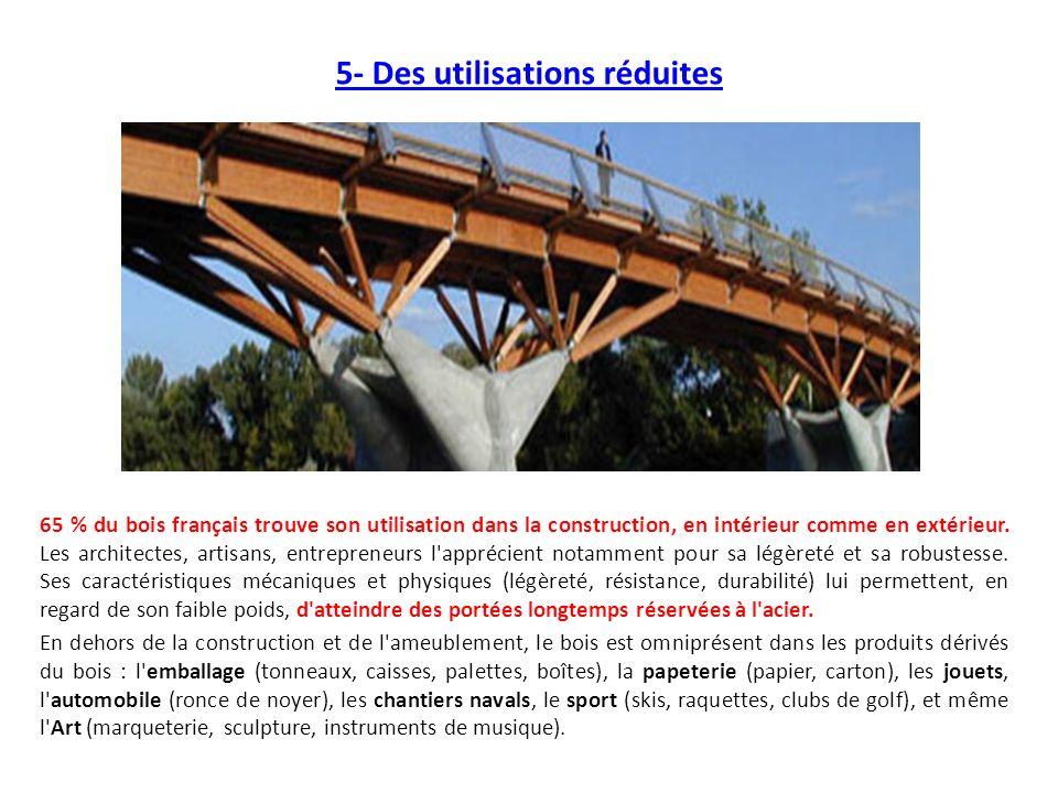 5- Des utilisations réduites 65 % du bois français trouve son utilisation dans la construction, en intérieur comme en extérieur. Les architectes, arti