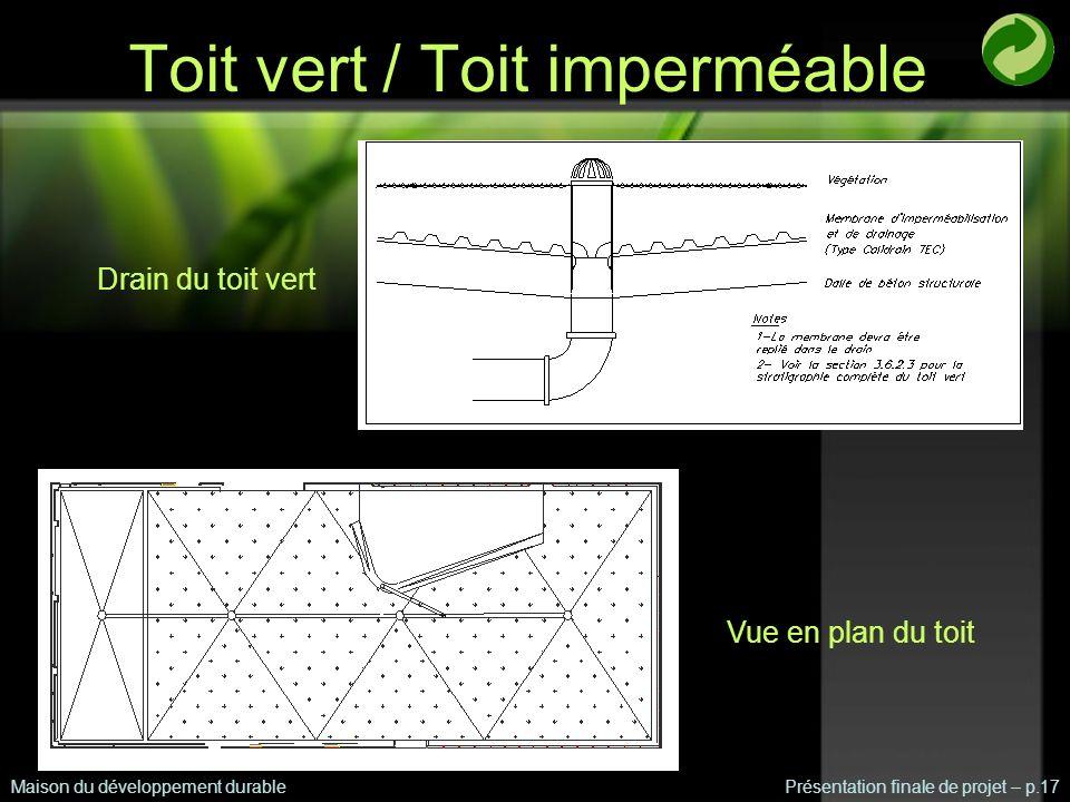 Toit vert / Toit imperméable Maison du développement durablePrésentation finale de projet – p.17 Drain du toit vert Vue en plan du toit