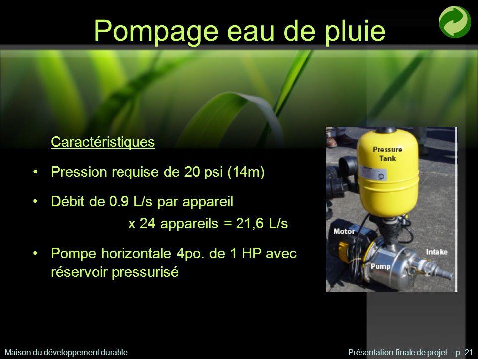 Pompage eau de pluie Maison du développement durablePrésentation finale de projet – p.