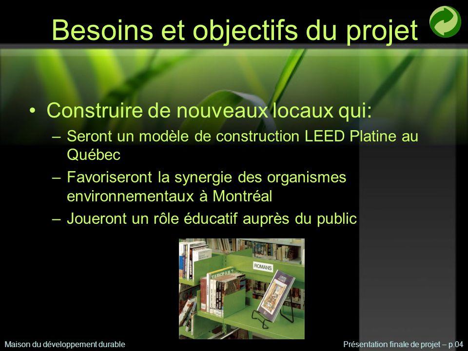 Conclusion Maison du développement durablePrésentation finale de projet – p.25 Mandat accompli : atteinte de 6 des 7 crédits LEED de la gestion des eaux Rayonnement mondial de la Maison du développement durable de Montréal
