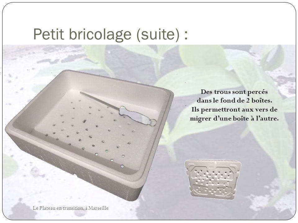 Petit bricolage (suite) : Des trous sont percés dans le fond de 2 boîtes. Ils permettront aux vers de migrer dune boîte à lautre. Le Plateau en transi